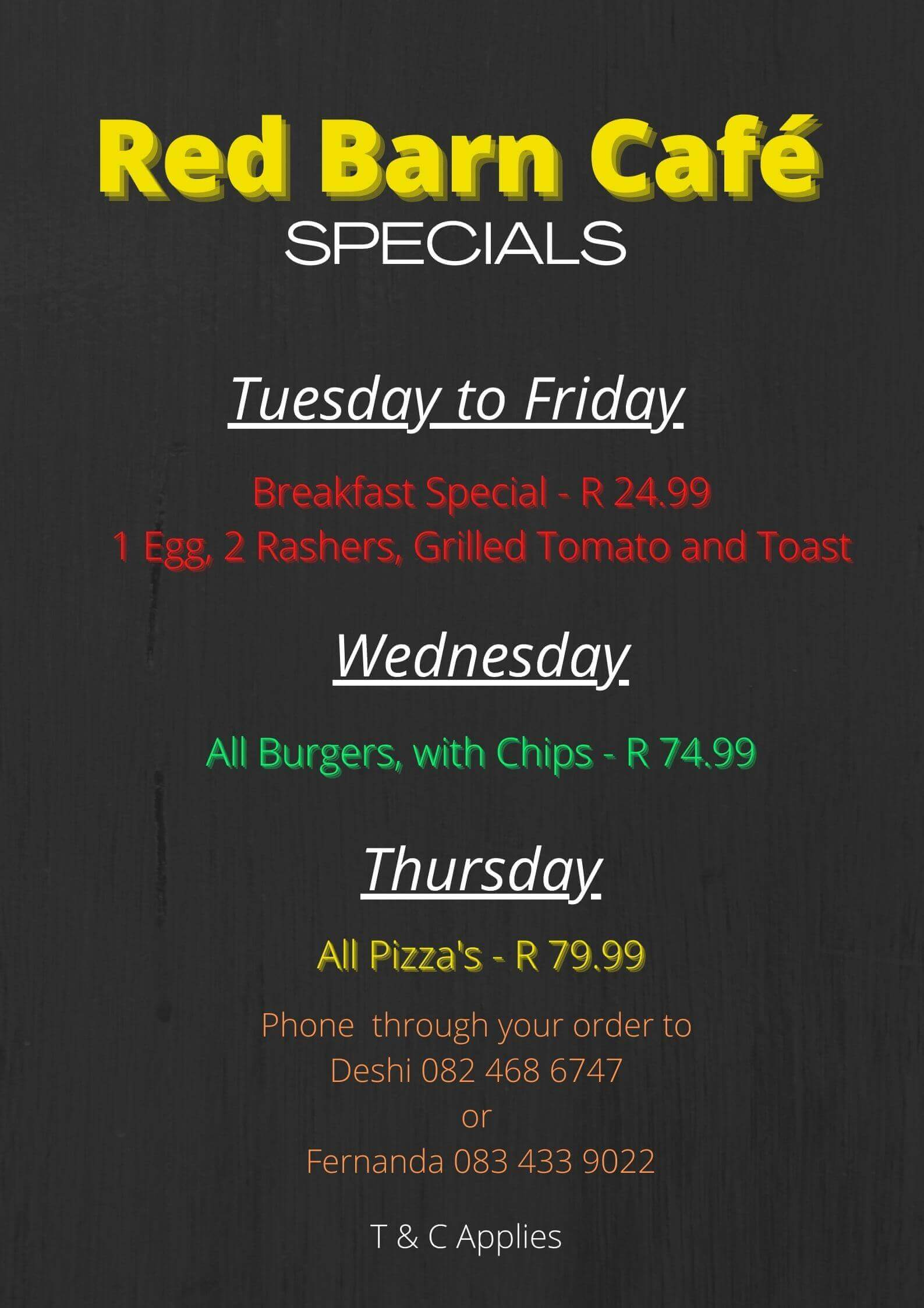 Week day specials at Red Barn Cafe